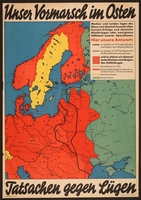 2018.236.1 front German propaganda poster showing a colored map of Eastern and Northern Europe  Click to enlarge