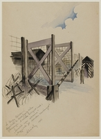 CM_1992.193.33_001 front Drawing by Ervin Abadi created while at Bergen Belsen displaced person's camp  Click to enlarge