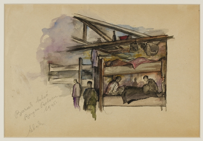 CM_1992.193.35_001 front Drawing by Ervin Abadi created while at Bergen Belsen displaced person's camp