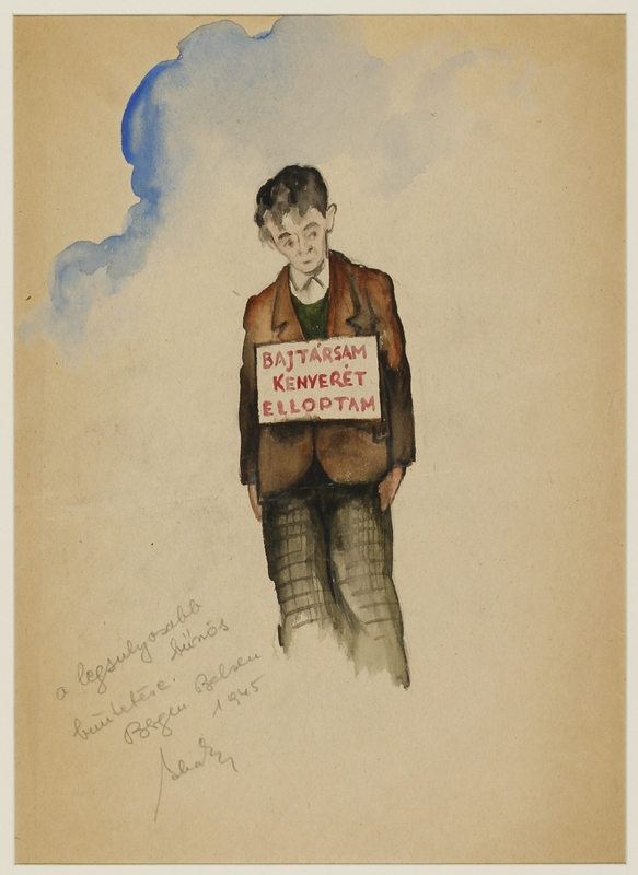CM_1992.193.36_001 front Drawing by Ervin Abadi created while at Bergen Belsen displaced person's camp