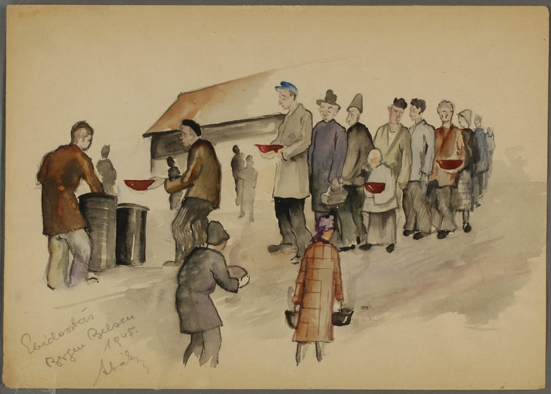 CM_1992.193.37_001 front Watercolor painting by Ervin Abadi created while at Bergen Belsen displaced person's camp