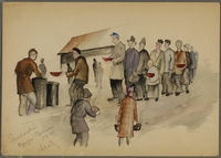 CM_1992.193.37_001 front Watercolor painting by Ervin Abadi created while at Bergen Belsen displaced person's camp  Click to enlarge