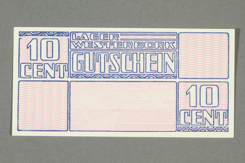 2018.229.4 front Westerbork transit camp voucher, 10 cent note, acquired by a former inmate