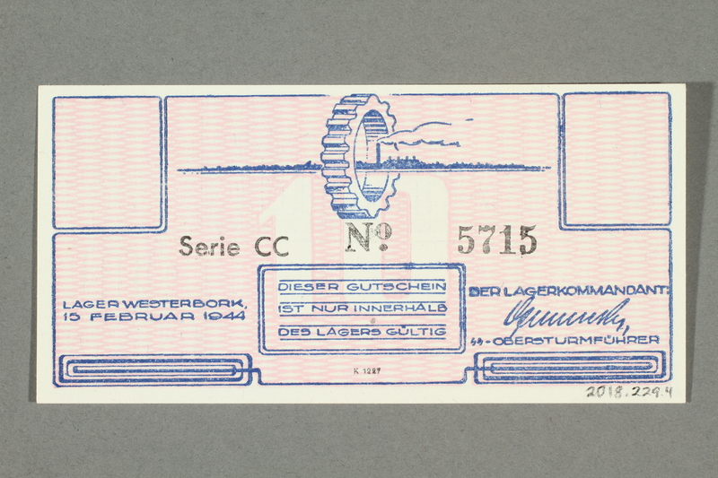 2018.229.4 back Westerbork transit camp voucher, 10 cent note, acquired by a former inmate