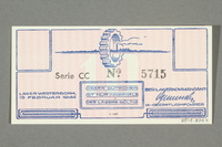 2018.229.4 back Westerbork transit camp voucher, 10 cent note, acquired by a former inmate  Click to enlarge