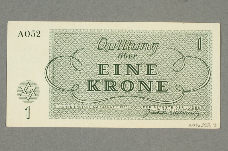 2016.552.5 back Theresienstadt ghetto-labor camp scrip, 1 krone note, belonging to a German Jewish woman