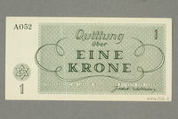 2016.552.5 back Theresienstadt ghetto-labor camp scrip, 1 krone note, belonging to a German Jewish woman  Click to enlarge