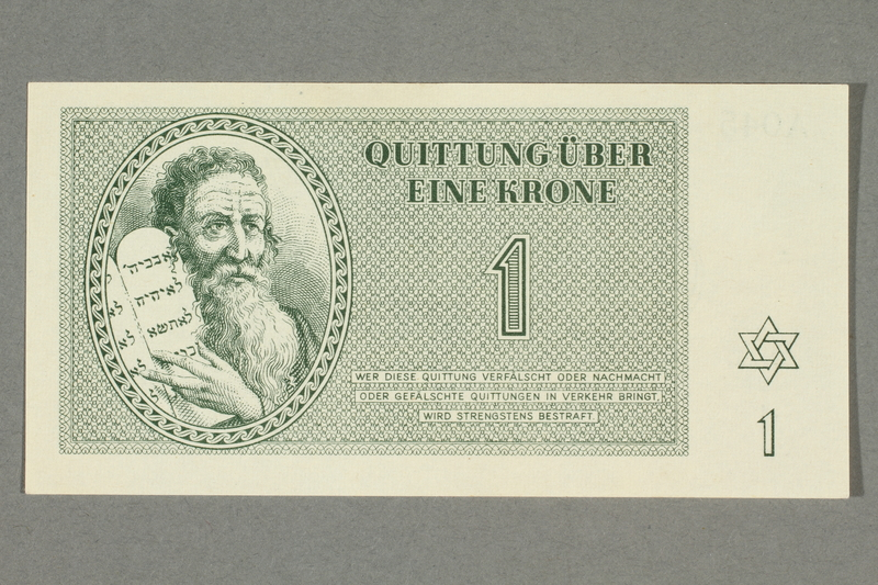 2016.552.6 front Theresienstadt ghetto-labor camp scrip, 1 krone note, belonging to a German Jewish woman