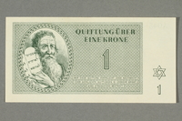 2016.552.6 front Theresienstadt ghetto-labor camp scrip, 1 krone note, belonging to a German Jewish woman  Click to enlarge