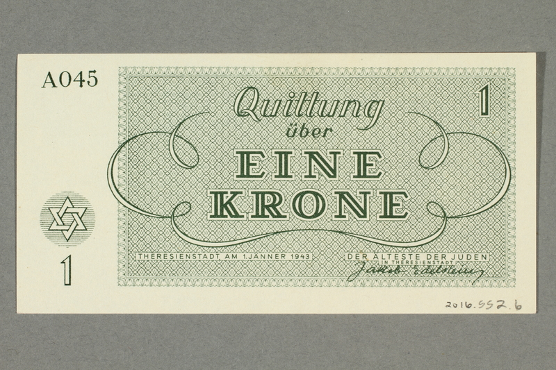 2016.552.6 back Theresienstadt ghetto-labor camp scrip, 1 krone note, belonging to a German Jewish woman