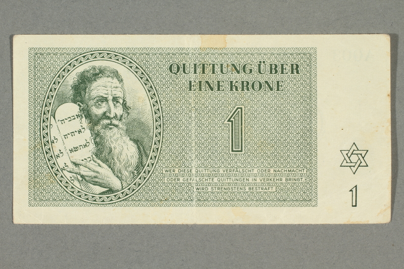 2016.552.7 front Theresienstadt ghetto-labor camp scrip, 1 krone note, belonging to a German Jewish woman