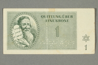 2016.552.7 front Theresienstadt ghetto-labor camp scrip, 1 krone note, belonging to a German Jewish woman  Click to enlarge