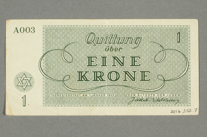 2016.552.7 back Theresienstadt ghetto-labor camp scrip, 1 krone note, belonging to a German Jewish woman