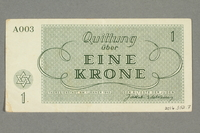 2016.552.7 back Theresienstadt ghetto-labor camp scrip, 1 krone note, belonging to a German Jewish woman  Click to enlarge