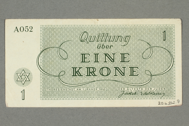 2016.552.8 back Theresienstadt ghetto-labor camp scrip, 1 krone note, belonging to a German Jewish woman