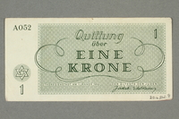 2016.552.8 back Theresienstadt ghetto-labor camp scrip, 1 krone note, belonging to a German Jewish woman  Click to enlarge