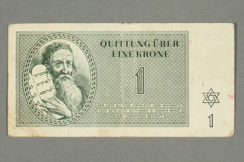 2016.552.9 front Theresienstadt ghetto-labor camp scrip, 1 krone note, belonging to a German Jewish woman