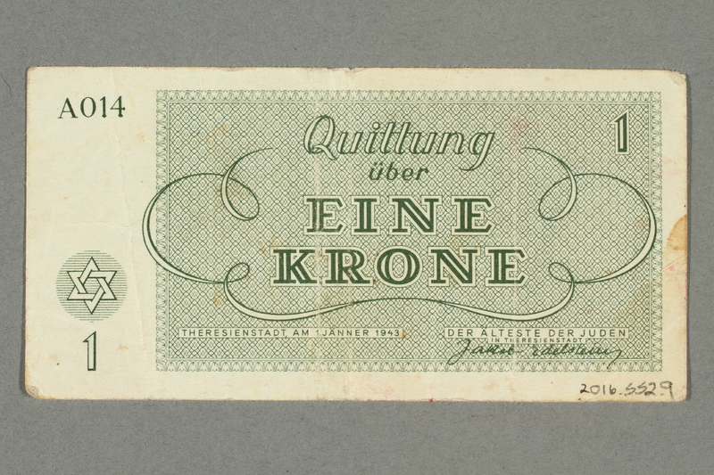 2016.552.9 back Theresienstadt ghetto-labor camp scrip, 1 krone note, belonging to a German Jewish woman