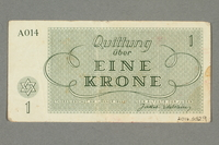 2016.552.9 back Theresienstadt ghetto-labor camp scrip, 1 krone note, belonging to a German Jewish woman  Click to enlarge