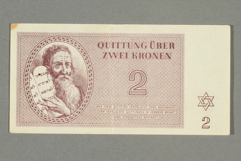 2016.552.10 front Theresienstadt ghetto-labor camp scrip, 2 kronen note, belonging to a German Jewish woman