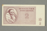2016.552.10 front Theresienstadt ghetto-labor camp scrip, 2 kronen note, belonging to a German Jewish woman  Click to enlarge