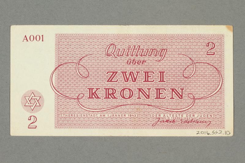 2016.552.10 back Theresienstadt ghetto-labor camp scrip, 2 kronen note, belonging to a German Jewish woman