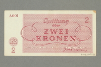 2016.552.10 back Theresienstadt ghetto-labor camp scrip, 2 kronen note, belonging to a German Jewish woman  Click to enlarge