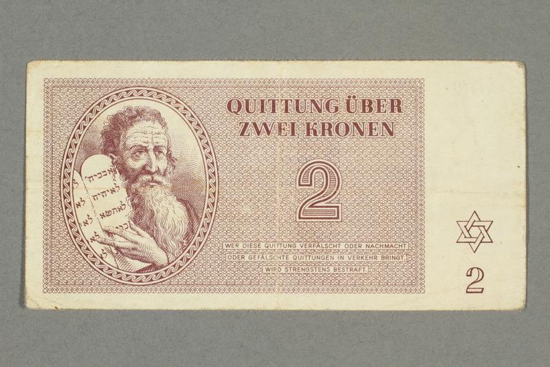 2016.552.11 front Theresienstadt ghetto-labor camp scrip, 2 kronen note, belonging to a German Jewish woman