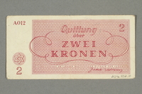 2016.552.11 back Theresienstadt ghetto-labor camp scrip, 2 kronen note, belonging to a German Jewish woman  Click to enlarge