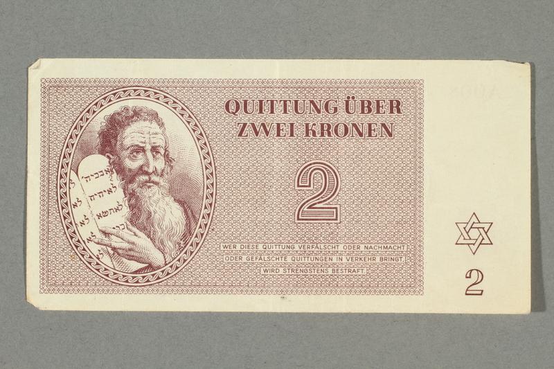 2016.552.12 front Theresienstadt ghetto-labor camp scrip, 2 kronen note, belonging to a German Jewish woman