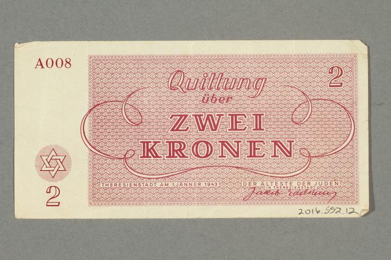 2016.552.12 back Theresienstadt ghetto-labor camp scrip, 2 kronen note, belonging to a German Jewish woman