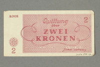 2016.552.12 back Theresienstadt ghetto-labor camp scrip, 2 kronen note, belonging to a German Jewish woman  Click to enlarge