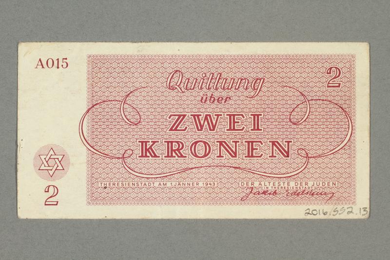 2016.552.13 back Theresienstadt ghetto-labor camp scrip, 2 kronen note, belonging to a German Jewish woman