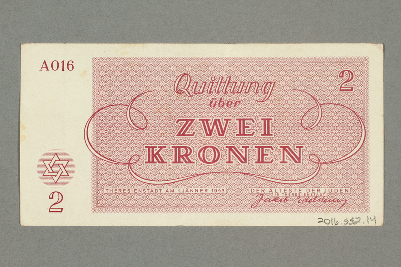 2016.552.14 back Theresienstadt ghetto-labor camp scrip, 2 kronen note, belonging to a German Jewish woman
