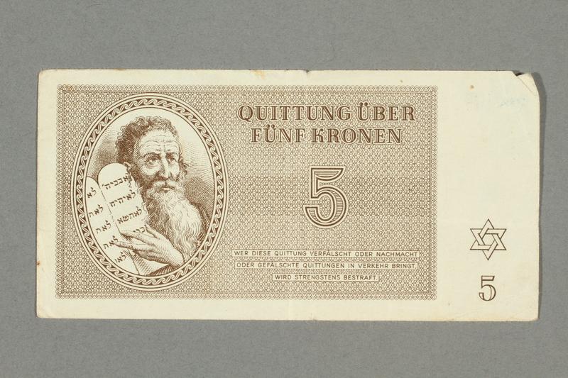 2016.552.15 front Theresienstadt ghetto-labor camp scrip, 5 kronen note, belonging to a German Jewish woman