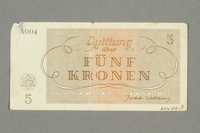 2016.552.15 back Theresienstadt ghetto-labor camp scrip, 5 kronen note, belonging to a German Jewish woman  Click to enlarge