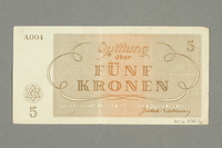 2016.552.16 back Theresienstadt ghetto-labor camp scrip, 5 kronen note, belonging to a German Jewish woman  Click to enlarge