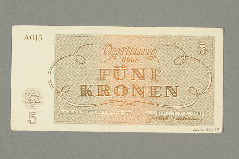 2016.552.17 back Theresienstadt ghetto-labor camp scrip, 5 kronen note, belonging to a German Jewish woman
