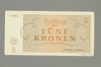 2016.552.17 back Theresienstadt ghetto-labor camp scrip, 5 kronen note, belonging to a German Jewish woman  Click to enlarge