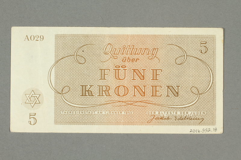2016.552.18 back Theresienstadt ghetto-labor camp scrip, 5 kronen note, belonging to a German Jewish woman