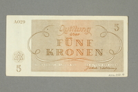 2016.552.18 back Theresienstadt ghetto-labor camp scrip, 5 kronen note, belonging to a German Jewish woman  Click to enlarge