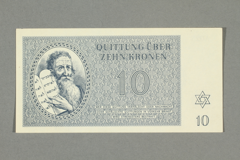 2016.552.19 front Theresienstadt ghetto-labor camp scrip, 10 kronen note, belonging to a German Jewish woman
