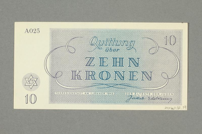 2016.552.19 back Theresienstadt ghetto-labor camp scrip, 10 kronen note, belonging to a German Jewish woman