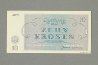 2016.552.19 back Theresienstadt ghetto-labor camp scrip, 10 kronen note, belonging to a German Jewish woman  Click to enlarge