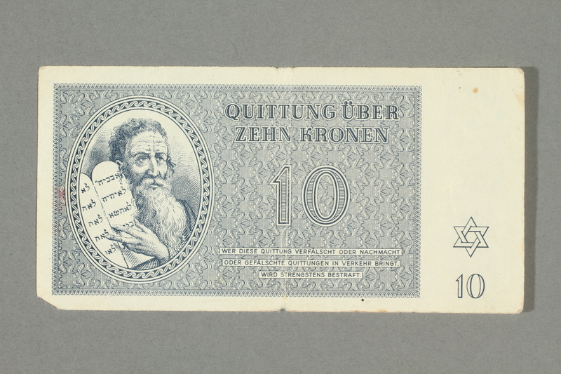 2016.552.20 front Theresienstadt ghetto-labor camp scrip, 10 kronen note, belonging to a German Jewish woman