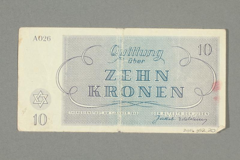 2016.552.20 back Theresienstadt ghetto-labor camp scrip, 10 kronen note, belonging to a German Jewish woman