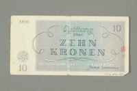 2016.552.20 back Theresienstadt ghetto-labor camp scrip, 10 kronen note, belonging to a German Jewish woman  Click to enlarge