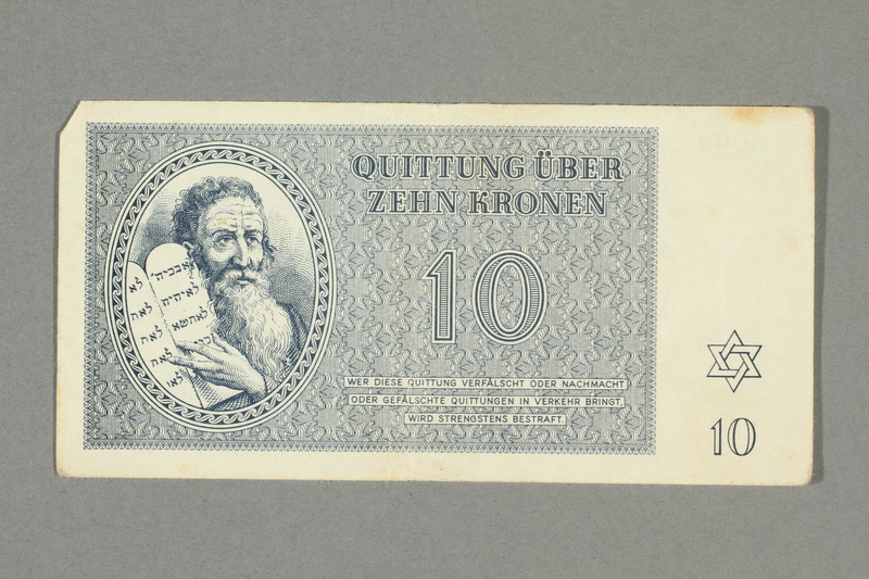 2016.552.21 front Theresienstadt ghetto-labor camp scrip, 10 kronen note, belonging to a German Jewish woman