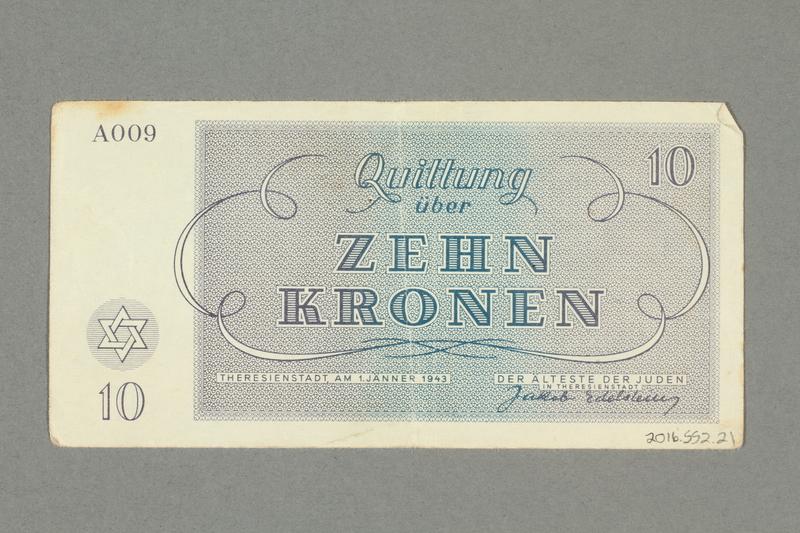 2016.552.21 back Theresienstadt ghetto-labor camp scrip, 10 kronen note, belonging to a German Jewish woman