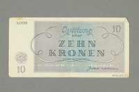 2016.552.21 back Theresienstadt ghetto-labor camp scrip, 10 kronen note, belonging to a German Jewish woman  Click to enlarge